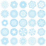 Un insieme di 25 fiocchi di neve Immagini Stock