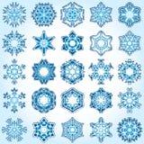 Un insieme di 25 fiocchi di neve di cristallo di gradiente dei sei-raggi. Immagini Stock Libere da Diritti
