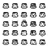 Un insieme di 25 fronti di smiley Immagine Stock