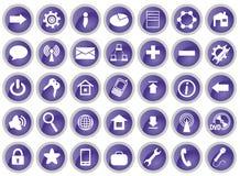 Un insieme di 35 icone del calcolatore Fotografie Stock