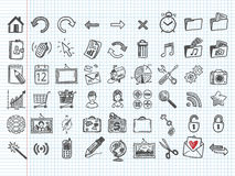 Un insieme di 54 icone di doodle Fotografia Stock