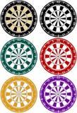 Un insieme di 6 Dartboards Fotografie Stock