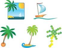 Un insieme di 6 icone di turismo ed elementi di disegno Fotografie Stock Libere da Diritti