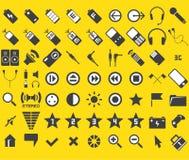Un insieme di 63 media ed icone di Web Immagine Stock Libera da Diritti