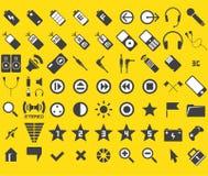 Un insieme di 63 media ed icone di Web Fotografia Stock