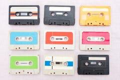 Un insieme di 9 cassets del nastro Fotografie Stock
