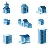 Un insieme di 9 icone della casa Fotografie Stock