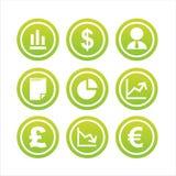 Un insieme di 9 segni di finanze Immagini Stock Libere da Diritti