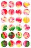 Un insieme di 24 ambiti di provenienza dell'acquerello in un cerchio Bolle del fondo royalty illustrazione gratis