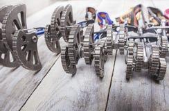 Un insieme di attrezzatura rampicante per la scalata delle rocce Immagini Stock Libere da Diritti