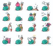 Un insieme di 16 autoadesivi di emozioni dell'umore delle lumache sveglie nelle posizioni differenti - vector l'illustrazione Immagine Stock