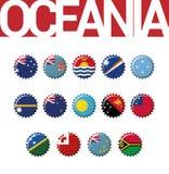 Un insieme di 14 bandiere del bottlecap di Oceania royalty illustrazione gratis