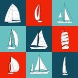 Un insieme di 9 barche a vela di contorno Fotografia Stock Libera da Diritti