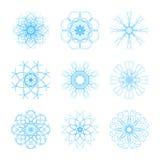 Un insieme di bello fiocco di neve originale nove per l'inverno del nuovo anno e di Natale progetta illustrazione di stock