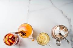 Un insieme di 4 bevande di autunno Fotografie Stock Libere da Diritti