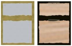 Un insieme di carta strappata lacerata due con gli ambiti di provenienza Fotografie Stock Libere da Diritti