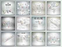 Un insieme di 12 carte creative, modello quadrato dell'opuscolo Immagine Stock