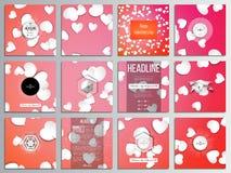 Un insieme di 12 carte creative, progettazione quadrata del modello dell'opuscolo Cuori del Libro Bianco, fondo rosso di vettore, Fotografie Stock Libere da Diritti