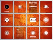 Un insieme di 12 carte creative, progettazione quadrata del modello dell'opuscolo Priorità bassa cinese di nuovo anno Progettazio Immagini Stock