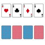 Un insieme di carte da gioco dell'asso quattro Fotografia Stock