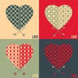 Un insieme di 4 carte di amore Cuore e freccia illustrazione vettoriale