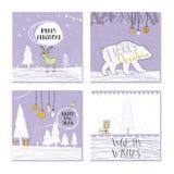Un insieme di 4 carte di regalo sveglie di Natale con la citazione Fotografie Stock