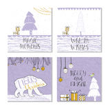 Un insieme di 4 carte di regalo sveglie di Natale con la citazione Immagini Stock