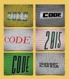 Un insieme di 6 carte per l'anno del 2015, sul tema di codifica Fotografia Stock Libera da Diritti