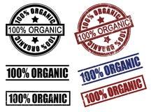Un insieme di 100 cento % dei timbri di gomma organici delle percentuali Immagini Stock