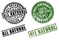 Un insieme di 100 cento % dei timbri di gomma Tutto naturali delle percentuali Immagine Stock Libera da Diritti