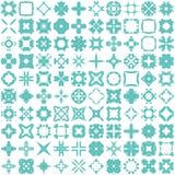 Un insieme di cento elementi di tiraggio della mano per progettazione Fotografie Stock