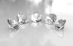 Un insieme di cinque bei diamanti rotondi Fotografia Stock Libera da Diritti