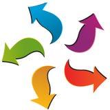 Un insieme di cinque frecce variopinte Fotografia Stock