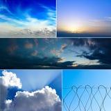 Un insieme di cinque immagini del cielo con le nuvole Fotografie Stock