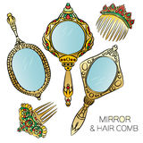 Un insieme di cinque pettini d'annata dello specchietto e dei capelli dell'oro illustrazione vettoriale