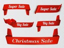 Un insieme di cinque rossi, realistico, insegne di carta di vendita isolate illustrazione vettoriale