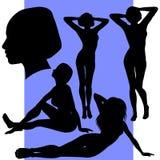 Un insieme di cinque siluette femminili Immagine Stock