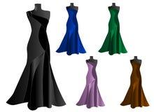 Un insieme di cinque vestiti eleganti, vettore dei cdr Immagine Stock