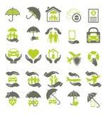 Un insieme di 25 2 colora le icone su assicurazione Fotografie Stock Libere da Diritti