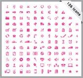 Un insieme di colore rosa di 126 icone lucide Immagine Stock