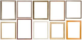 Un insieme di 10 cornici di legno verticali dei pc Fotografia Stock Libera da Diritti