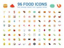 un insieme di 96 dell'alimento icone di colore pieno Illustrazione di vettore royalty illustrazione gratis
