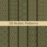 Un insieme di dieci modelli geometrici tradizionali arabi di vettore senza cuciture progettazione per le coperture, tessuto, imba illustrazione di stock