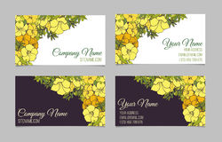 Un insieme di due biglietti da visita floreali su due lati Fotografia Stock