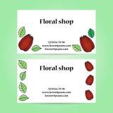 Un insieme di due biglietti da visita per il negozio di fiore con i fiori e le foglie Fotografia Stock Libera da Diritti