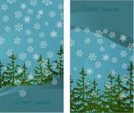 Un insieme di due carte con i motivi di inverno per le congratulazioni Fotografia Stock