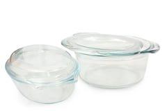 Un insieme di due casseruole di vetro Immagine Stock