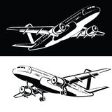 Un insieme di due che l'aereo sta atterrando e che ingranaggio di decollo, su un'icona bianca e nera dell'aeroplano del fondo in  Fotografia Stock Libera da Diritti