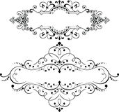 Un insieme di due elementi decorati d'annata delle curve Immagine Stock Libera da Diritti