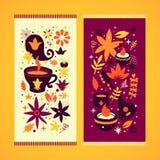 Un insieme di due insegne dell'India con gli elementi floreali e nazionali astratti Può essere usato per la pubblicità ed il web  Immagine Stock Libera da Diritti